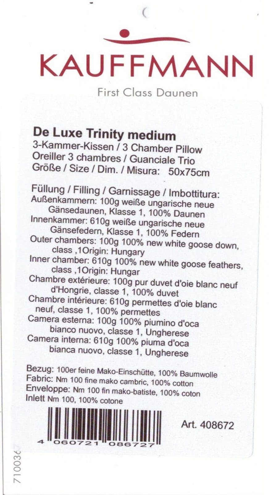 Пуховая подушка DE LUXE-TRINITY MEDIUM